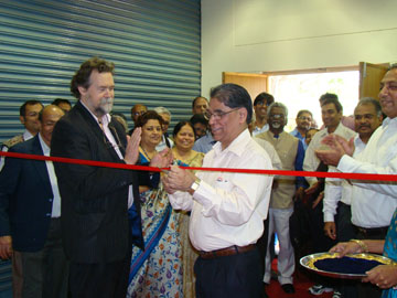 Dr. T. Ramasani (Secy to the Government of India, Dept. Sci & Tech) cuts the ribbon at the ARCI-Inframat SPPS Centre Inaugural Ceremony on January 17, 2009 ion Hyderabad.